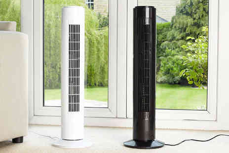 Home Empire - IcePro 50W oscillating tower fan choose from black and white - Save 76%