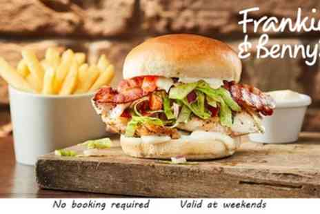 Frankie and Bennys - Two Course A La Carte Meal for Two and Optional Bottle of Wine - Save 56%