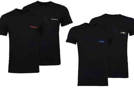 Groupon Goods Global GmbH - Two Pack of Emporio Armani SS2019 Lounge Round or V Neck Tshirts - Save 0%