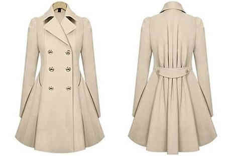 Bag a Bargain - Pleated Double Breasted Coat Choose from Four Sizes And Three Colours - Save 72%