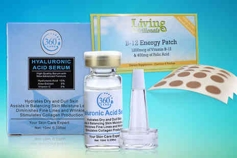 Seated Toad - Hyaluronic acid serum and a 2mth supply of B12 energy patches or Two serums and a 4mth supply of patches or Three serums and a 6mth supply of patches - Save 91%