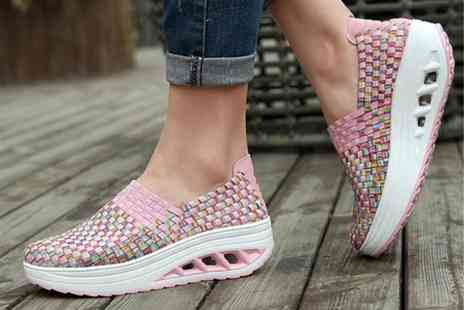 PinkPree - Pair of woven look non-slip trainers choose from four colours - Save 60%