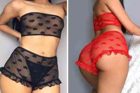 hey4beauty - Sexy Heart Lace Lingerie choose from 2 Colours - Save 80%