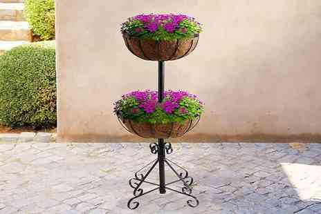 Zoozio - Two tier flower fountain planter - Save 0%