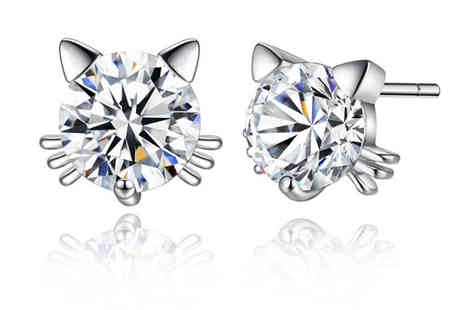 Your Ideal Gift - Pair of silver crystal cat whisker studs - Save 92%