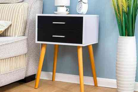 Meriden Furniture - Black and white two drawer bedside table nightstand cabinet - Save 49%