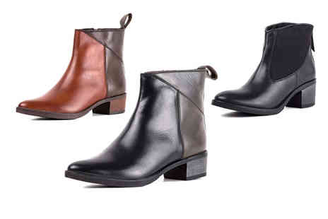 Redfoot - Pair of leather ankle boots choose from three designs - Save 65%