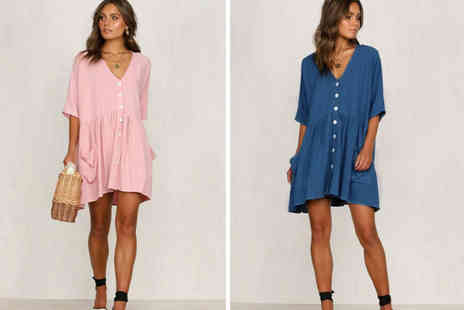 Backtogoo - Oversize button down shirt dress choose from four colours - Save 0%