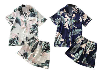 Litnfleek - Tropical print satin shorts and shirt pyjama set - Save 75%