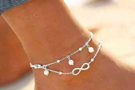 YelloGoods - Double layer infinity anklet in gold or silver colour - Save 0%