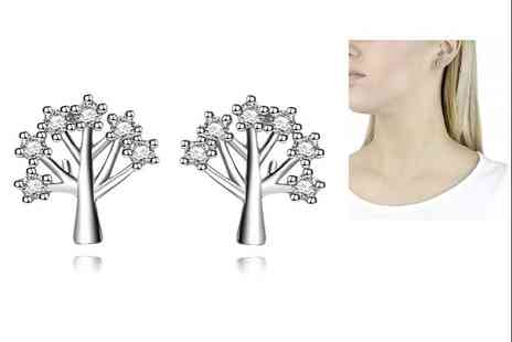 GENOVA INTERNATIONAL - Tree of Life Silver Stud Earrings - Save 82%