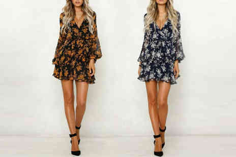 YelloGoods - Long sleeve floral dress choose from two colors - Save 0%