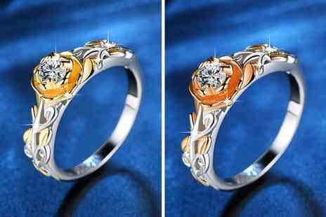 Your Ideal Gift - Two tone gold rose filled ring made with crystals from Swarovski - Save 86%