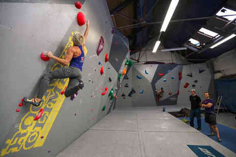 Rock Over Climbing - One hour adult or child rock climbing session with two hours of kids soft play - Save 52%