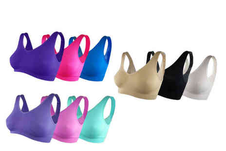 Direct Sourcing Project - Pack of three Cascabelle seamless bras choose from three colour sets and six sizes - Save 58%