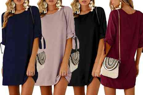 Boni Caro - Bow tie sleeve tunic dress - Save 75%