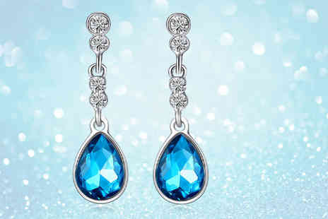 Your Ideal Gift - Pair of blue crystal tear drop earrings - Save 85%