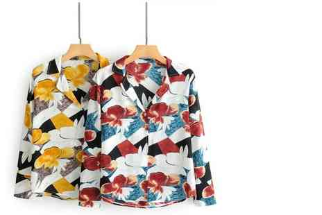 hey4beauty - Floral Printed Long Sleeve Shirt choose from 2 Colours - Save 70%