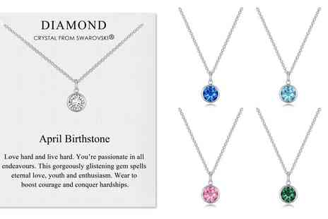 Groupon Goods Global GmbH - Philip Jones Birthstone Necklace with Crystal from Swarovski - Save 0%