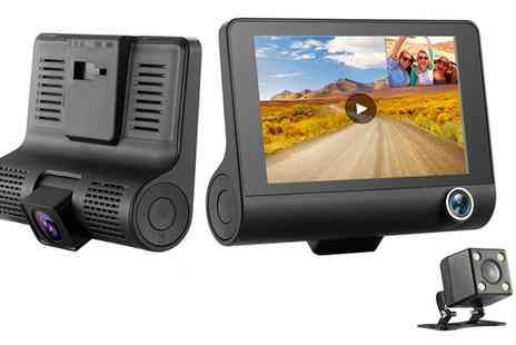 Groupon Goods Global GmbH - Burg Three-Lens Burg HD Car Dash Camera with Optional 16GB SD Card - Save 0%