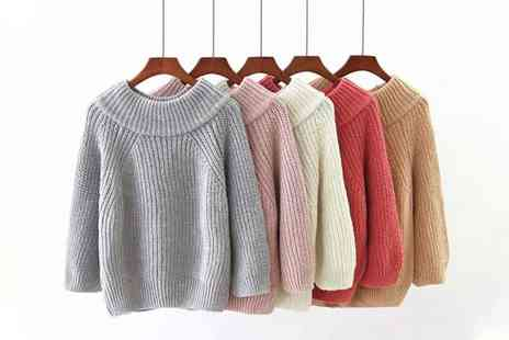 hey4beauty - Knitted long sleeve off shoulder jumper - Save 75%