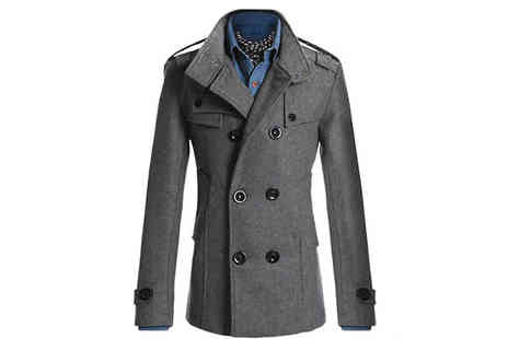 Bag A Bargain - Mens Double Breasted Woollen Coat - Save 75%