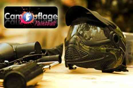 Camouflage Paintball - Paintballing Experience With Lunch, 100 Balls, Smoke Bomb and Anti-Fog Wipe - Save 81%