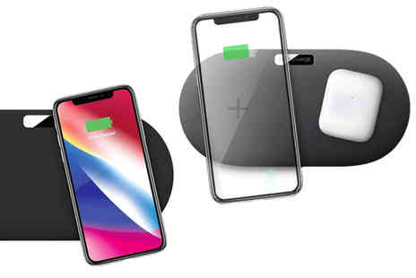 Wishwhooshoffers - 2 in 1 Qi dual wireless charger pad choose from two colours - Save 70%
