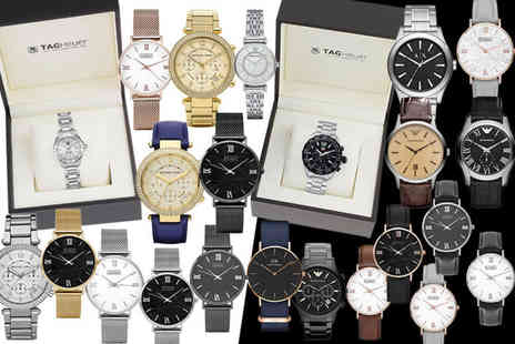 GK1706 - Luxury mystery watch deal for him or her Tag Heuer, Emporio Armani, Michael Kors, Daniel Wellington and Luke Henry - Save 0%