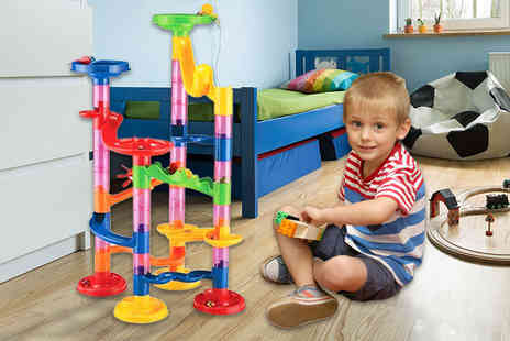 London Exchain Store - Childrens 50pc glass marble run toy set - Save 75%