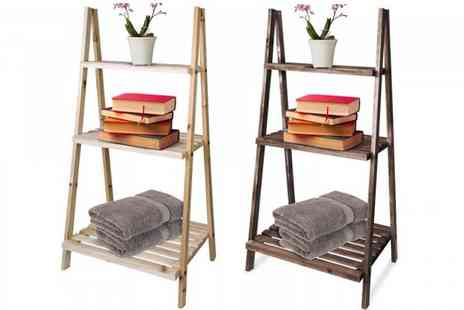 Fusion Online - Three tier wooden ladder display shelf choose from two colours - Save 77%