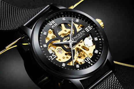 Taylors - Mens all black automatic mesh skeleton watch - Save 83%