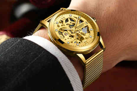 Taylors Jewellery - Mens luxury automatic gold mesh watch - Save 83%