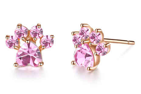 Your Ideal Gift - Pair of pink crystal paw earrings - Save 0%