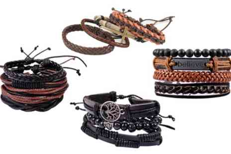 Groupon Goods Global GmbH - Four or Eight Piece Mens Bracelet Set - Save 80%