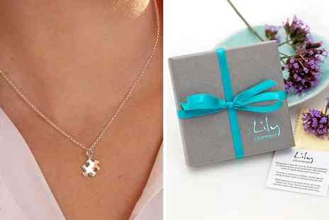 Lily Charmed - Sterling silver jigsaw necklace - Save 50%