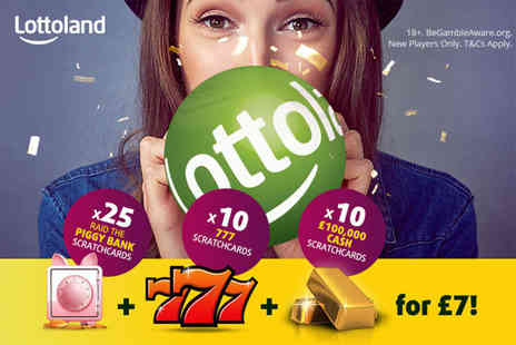 Lottoland - 25 PiggyBank scratchcards, 10 '777' scratchcards and 10 '100k' scratchcards - Save 67%
