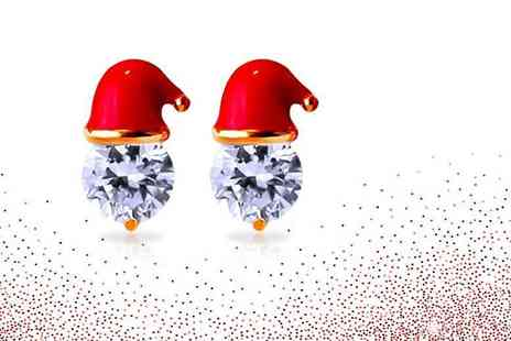 Solo Act - Pair of crystal santa hat Christmas earrings - Save 78%