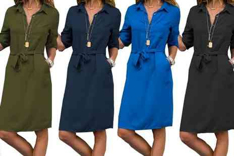Boni Caro - Tie waist shirt dress choose from four colours - Save 68%