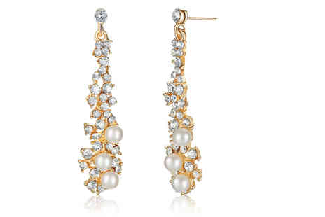 Your Ideal Gift - Pair of crystal and faux pearl chandelier earrings - Save 82%