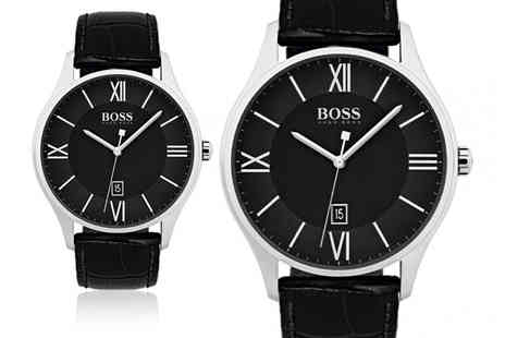 Brand Arena - Huge Boss black mens leather watch - Save 56%