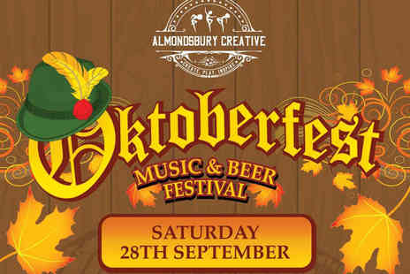 Almondsbury Creative - Friday Oktoberfest ticket with a 2pt stein of beer, a bratwurst and a pretzel - Save 54%
