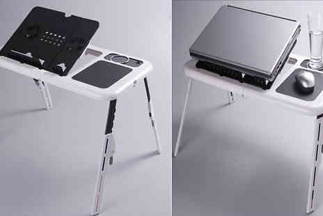 WowWhatWho - Portable Adjustable Laptop Desk with 2 x Usb Fans - Save 74%