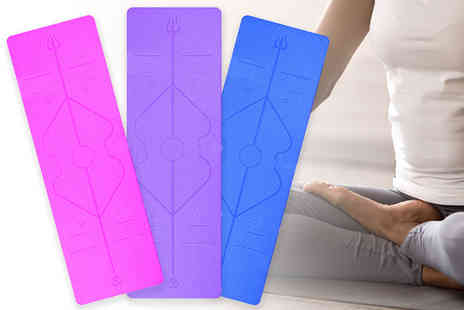 Litnfleek - Non slip Gratitude yoga mat and carry bag choose from blue, pink and purple - Save 0%