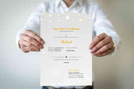Estarregistry - Name a star personalised gift with a star attribution certificate - Save 55%
