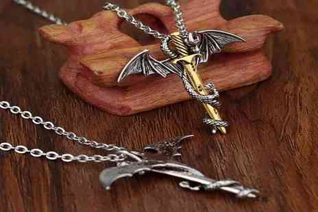 Forever Cosmetics - 1 or 2 Myths and Legends Dragon Sword Necklace - Save 80%