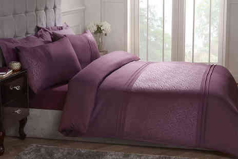 Cascade Home - Embossed swirl duvet set choose from three sizes and two colours - Save 71%