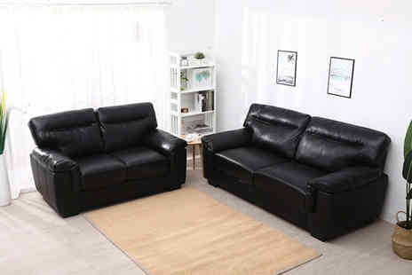 Meriden Furniture - Sofa set with two and three seater sofas choose between black and mocha - Save 54%