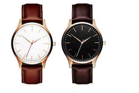 Solo Act - Mens leather strap watch choose from two colours - Save 69%