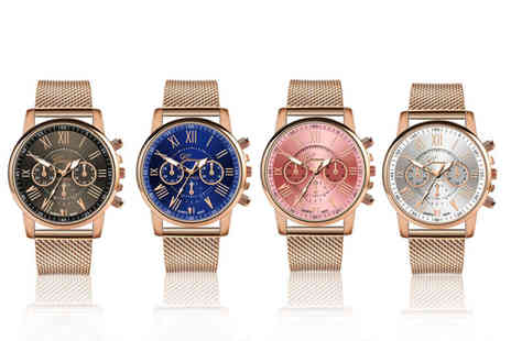 Taylors Jewellery - Ladies Geneva quartz rose gold dress watch choose from four options - Save 88%